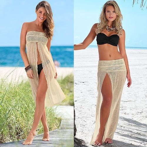 Sexy mujeres cubrir encima del ganchillo ahueque hacia fuera reticular de Boho de ropa de playa Bikini Vestido Falda verano playa Beige