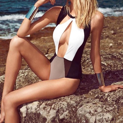 Sexy Monokini triángulo recortes malla Patchwork traje de baño playa mujer traje de baño traje de baño blanco Borgoña
