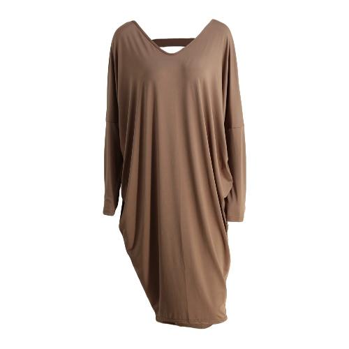 Nova Moda Vestido Mulheres oco Out cor sólida Irregularidade Hem V Neck Batwing vestido de manga elegante da festa