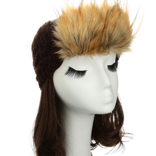 Nowe kobiety dziane pałąk Faux Futro Trim Elastyczne Włosy Poduszki Radosne Headwear Hat