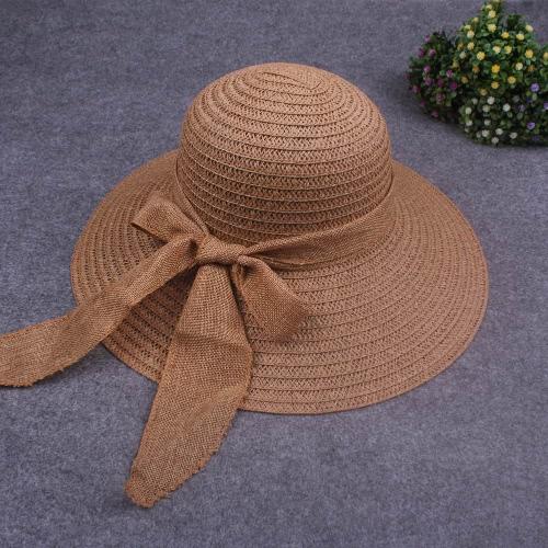Nuevo sombrero de paja de las mujeres dulces Bowknot plegable casquillo ocasional de la playa de Sun del verano Beige / café ligero