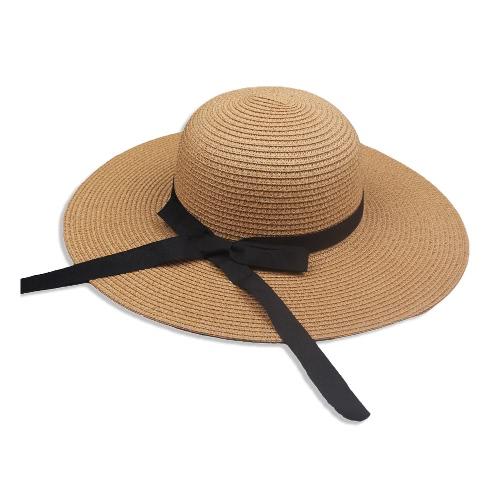 Nuevo sombrero de paja de las mujeres elegantes sombrero Bowknot Wide Large Brim plegable casquillo de vacaciones de verano casual