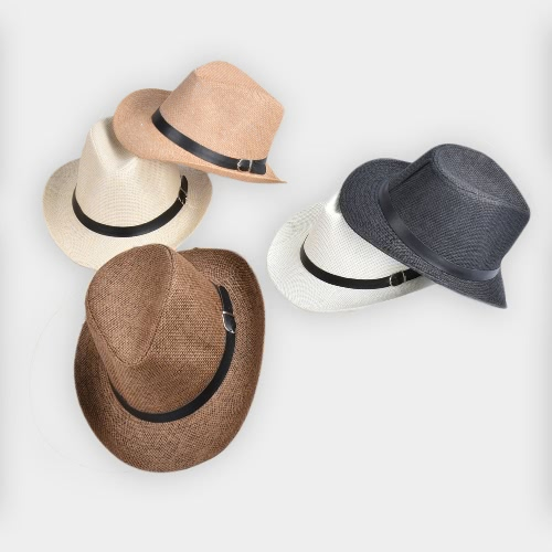 New Summer Men Straw Hat Wide-Brim Foldable Beach Holiday Beach Casual Floppy Cap Sunhats