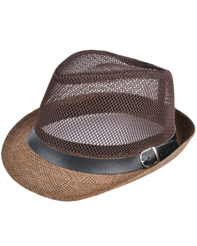Mode Unisex Sun Hut Strohhut Solid Hollow Out Metall Gürtel Sommer Sunbonnet Trilby Fedora Beach Panama Hat
