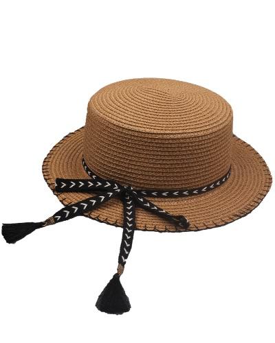 Mujeres Verano Sun Sombrero de paja Desmontable Bow Tassel Ajustable Plano Verano Panama Beach Holiday Cap