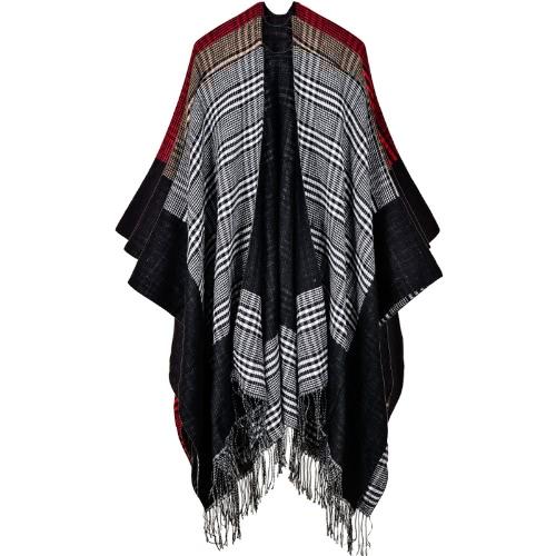 Las mujeres de la vendimia tejieron el poncho del mantón Faux la tela escocesa de la cachemira comprueban la borla