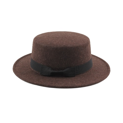 Vintage Mujer Hombres Brim ancho Lana cálida Mezcla sombrero de fieltro Unisex Trilby Fedora Cap Sombrero de vaquero Gorras