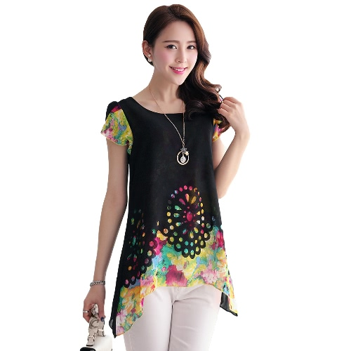 New Fashion Women Chiffon Blouse Floral Print Hollow Out Overlay Pétala Mangas Tops Preto