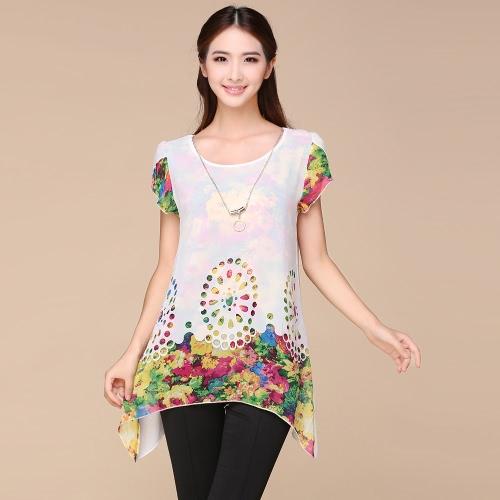 La nueva flor floral de la blusa de la gasa de las mujeres de la manera ahueca hacia fuera el pétalo de la recubrimiento remata las tapas negros