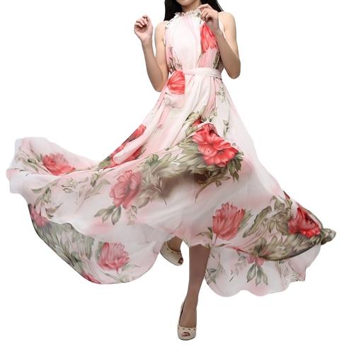 Vestido largo de gasa sin mangas con estampado floral y cóctel sin mangas de verano para mujer vestido rojo