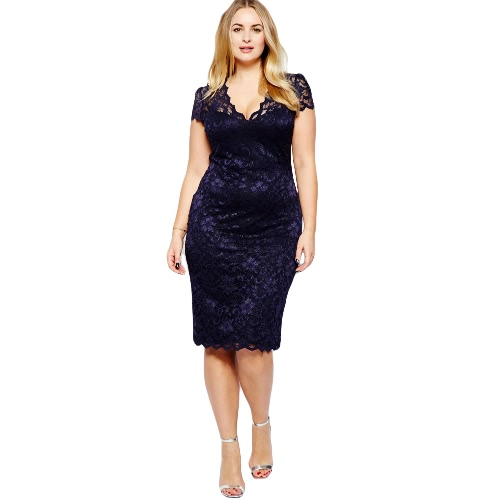 Nowe mody Kobiety Midi Sukienka V-Neck Floral Lace Plus Size BODYCON Pencil Dress Dark Blue