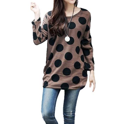 Las mujeres coreanas de la manera Slouchy T-shirt cuello redondo del punto de polca hizo punto el suéter largo de la camisa remata el café