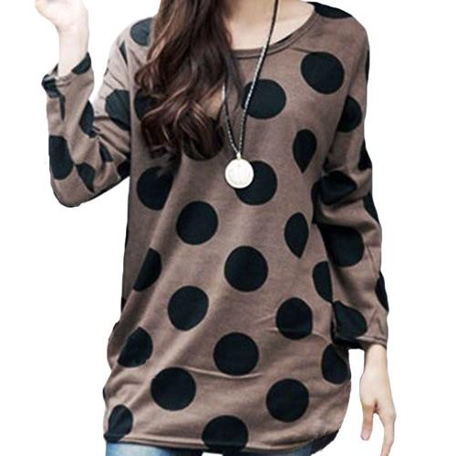 Mujeres de la manera coreana Slouchy camisa de la camiseta del lunar de cuello redondo de punto larga Tops sudadera café