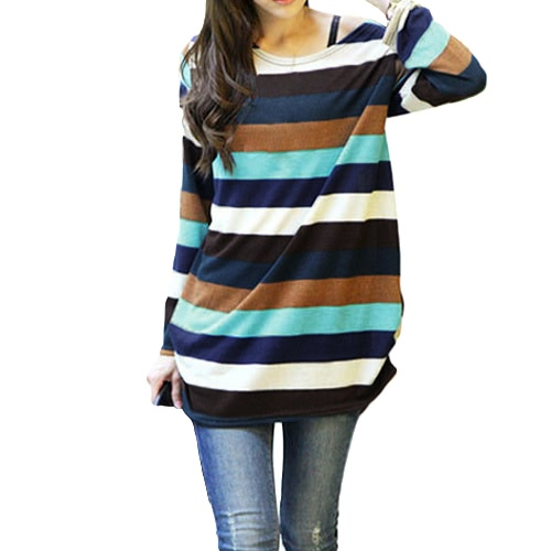 Koreanische Mode Frauen Slouchy T-shirt Bunte Streifen Gestrickte Lange Shirt Pullover Tops Multicolor