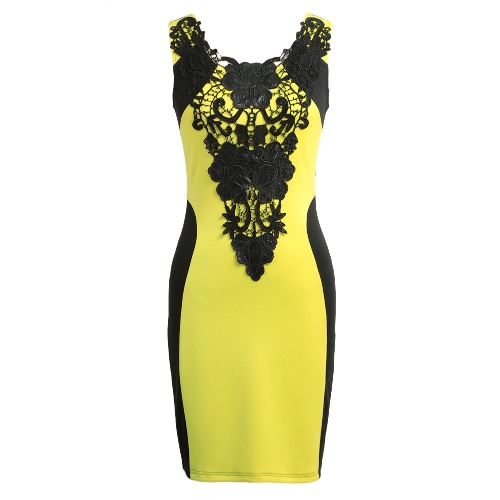 New Fashion Women Dress Floral Lace Contrast Sleeveless Bodycon Mini Casual Bandage Backless One-Piece