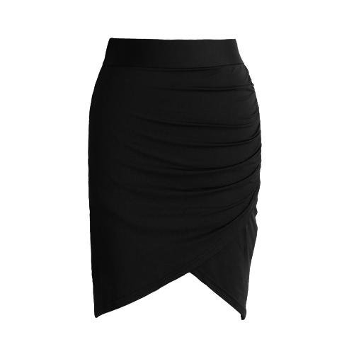 NOWE Moda Kobiet Spódnica Spódnica Owijana Wysokie Obwód Asymetryczna Ruched Sexy Mini Spódnica Ołówka Czarna / Zielona / Różowa