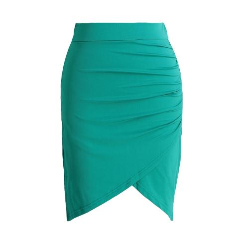 Nuevo traje de la falda de las mujeres de la manera cubrió la alta cintura asimétrica acanaló la mini falda atractiva del lápiz Negro / verde / color de rosa