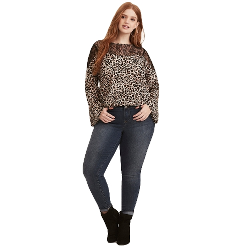 Sexy kobiet Plus rozmiar Leopard Print Bluzka Lace Splice O Neck Flare Sleeve Pullover T-Shirt Top Brown