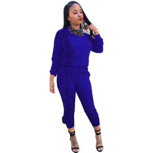 Conjunto de dos piezas de mujer Chándal con volantes Top Pantalones largos de manga larga Ropa deportiva casual Juego de deportes Negro / Borgoña / Azul