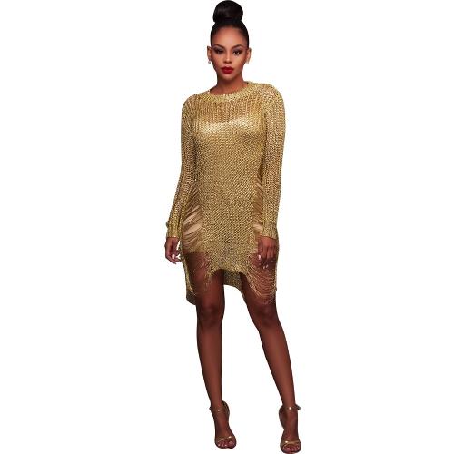 Sexy Women Sheer Knit Bodycon Mini Dress O Шея с вырезом из длинного рукава Clubwear Party Bandage Dress