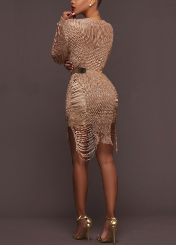 TOMTOP / Sexy Women Sheer Knit Bodycon Mini Dress O Neck Hollow Out Long Sleeve Clubwear Party Bandage Dress