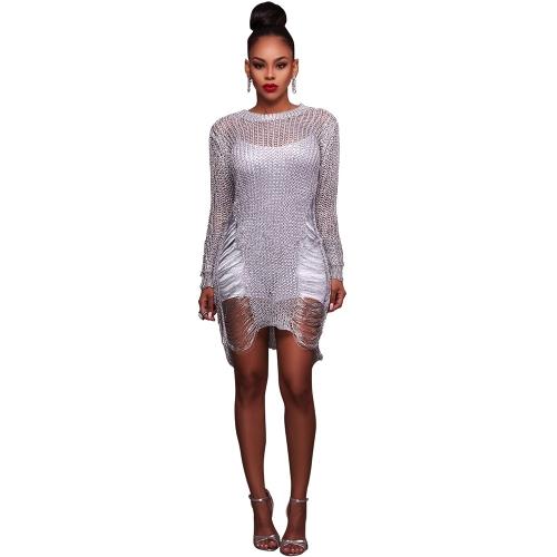 Mujeres Sexy Sheer Knit Bodycon Mini vestido O cuello ahueca hacia fuera manga larga Clubwear fiesta vestido del vendaje