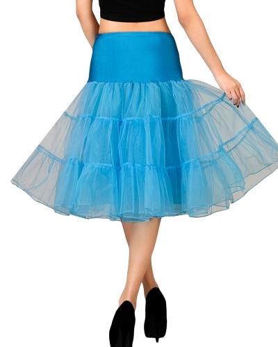 Vintage Frauen Petticoat Rock Crinoline Tutu Unterrock elastische Taille A-Line Party Midi Rock