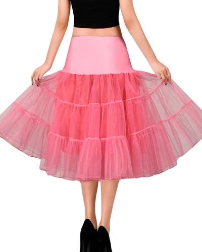 Vintage Women Petticoat Skirt Crinoline Tutu Underskirt Elastic Waist A-Line Party Midi Skirt