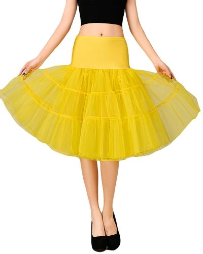Falda de la falda de las mujeres de la vendimia de la falda de Crinoline del tutú de la falda de la falda de la cintura elástica