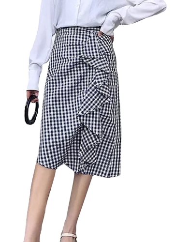 Falda a cuadros de las mujeres de la manera volantes asimétrico cintura alta comprobada falda delgada negro