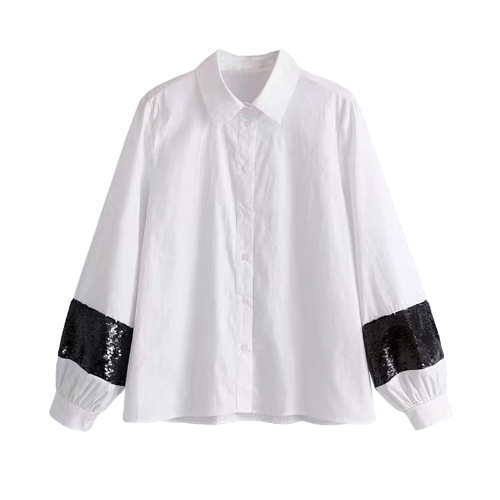 Moda Mulheres Sequins Shirt Turn-Down Collar Long Sleeve Casual Loose Blusa Tops Branco