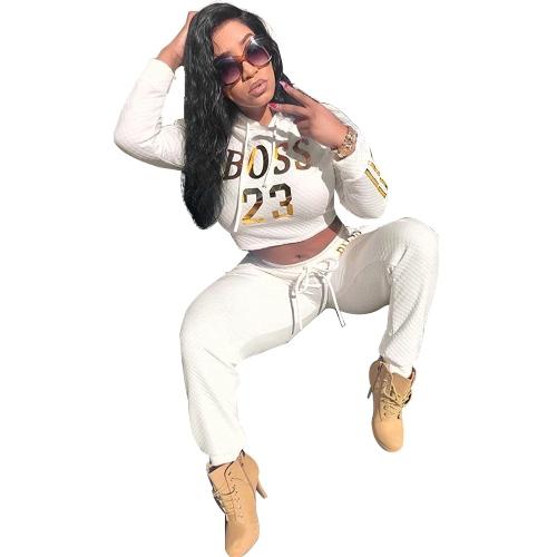 Nuevas mujeres de la impresión de la letra de la letra de dos piezas fijaron el top con capucha de manga larga pantalones de cintura alta trajes chándales blanco