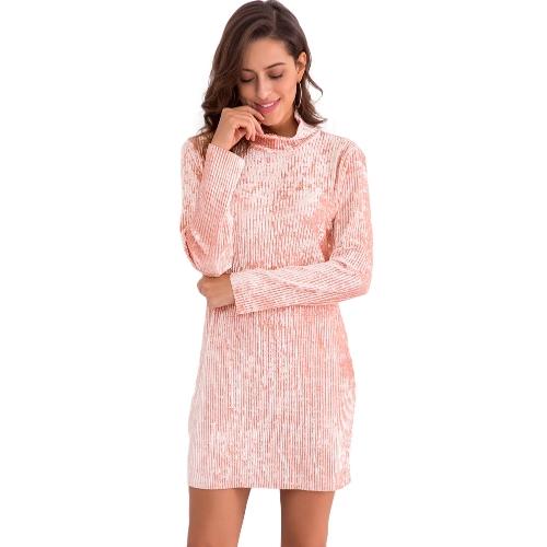 Las mujeres de moda de terciopelo de cuello alto del vestido del lápiz de manga larga Party Club elegante delgado mini vestido rosa