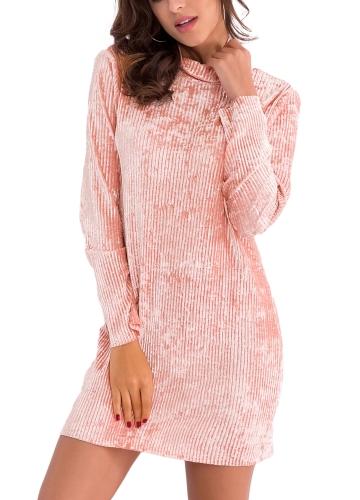 Fashion Women Velvet High Neck Pencil Dress Long Sleeve Party Club Elegant Slim Mini Dress Pink