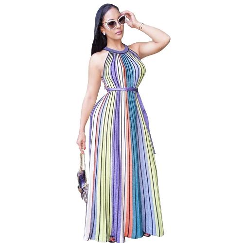 Frauen Streifen Maxikleid Kontrast Neckholder Ärmellos Nachtclub Party Langes Kleid Lila