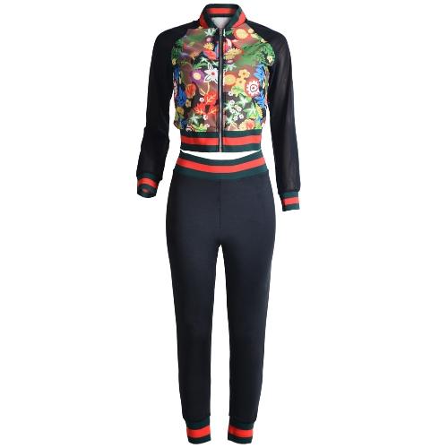 Damski dwuczęściowy zestaw Bomber Jacket Pants Floral Print Mesh Stripes Stójka Collar Casual Suits Black