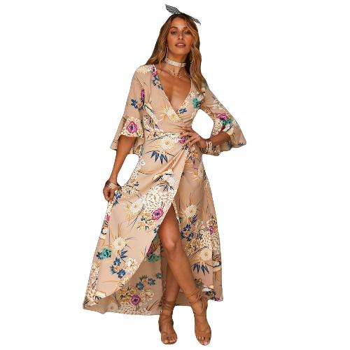 Primavera Sexy Women Floral Wrapped Maxi Dress V Neck Tie Cintura Flare Sleeve Split Party Dress Vermelho / Khaki