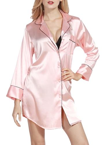 Camisa de satén de seda de las mujeres atractivas del vestido pijamas Turn Down Collar de manga larga ropa de dormir pijamas de dormir