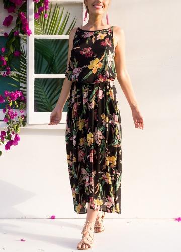 Mode Frauen Floral Maxi Kleid ärmellose Seitentasche Strand Bohemian A-Line Kleid mit Gürtel Schwarz