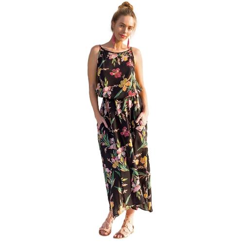 Moda Mulheres Floral Maxi Vestido sem mangas Side Pocket Beach Bohemian A-Line Vestido com cinto preto