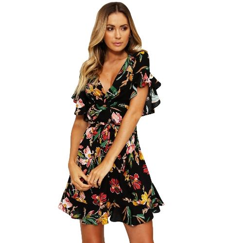 New Spring Frauen Floral Minikleid V-Ausschnitt Flare Sleeve Elastische Taille Casual A-Lined Kleid Schwarz