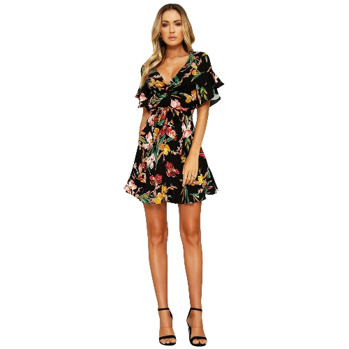 New Spring Women Floral Mini Dress V Neck Flare Sleeve Elastico in vita Casual A-Lined Dress Black