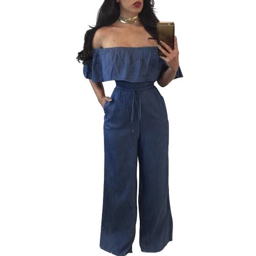 Mujeres atractivas del hombro del dril de algodón del mono de los mamelucos Slash Neck Ruffle pierna ancha sin tirantes del mono azul