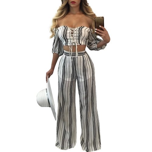 730bfd1b31c30 Sexy Women Striped Two Piece Set Lace Up Off Shoulder Half Sleeve Cropped  Top   Wide