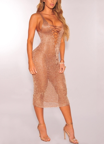 7bee8a4ed1 Sexy Women Sheer Knit Dress Lace Up Deep V Neck Sleeveless Beach Cover Up  Party Nightclub Midi Dress Gold/Rose Gold