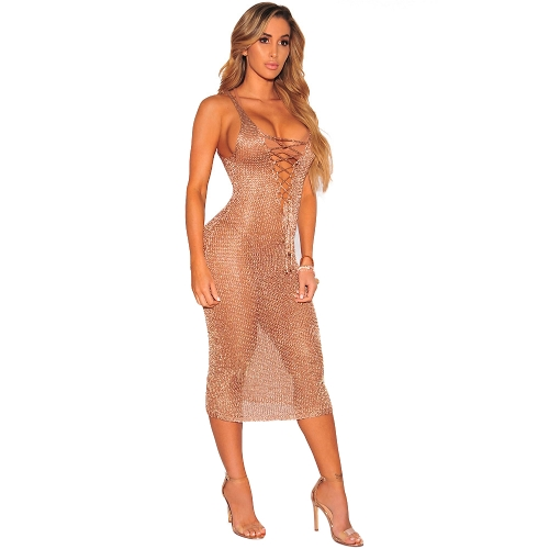 Vestido sin mangas de las mujeres atractivas encaje hasta cuello en v profundo sin mangas Beach Cover Up partido del club nocturno vestido a media pierna oro / oro rosa