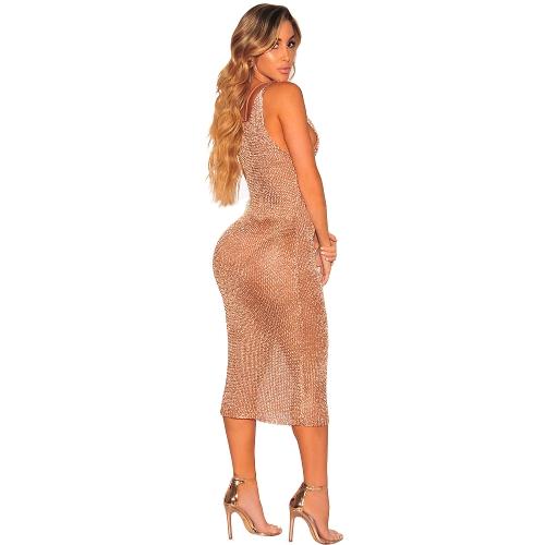 Donne sexy Abito in maglia trasparente Lace Up Deep scollo a V senza maniche Copriscarpe Party Nightclub Vestito longuette Oro / Oro rosa