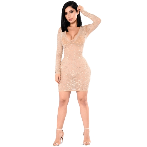 New Sexy Women Rhinestone Sheer Mini Dress Long Sleeve Scoop Neck Clubwear Festa Bodycon Vestido Preto / Bege