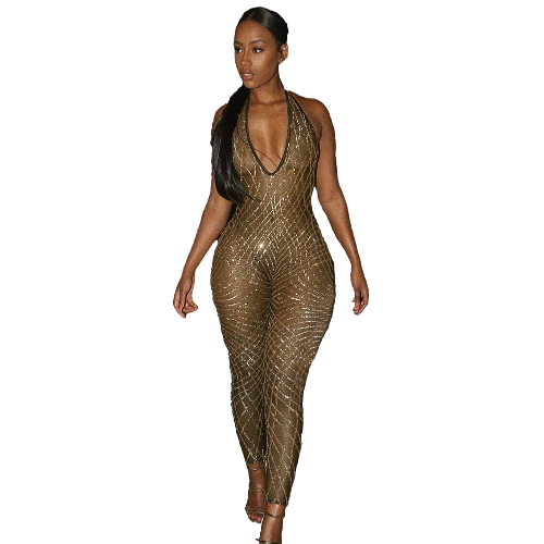 Mulheres Jumpsuit Shiny Sequined Mesh Halter Plunge V Neck Open Back Bodycon Sexy Night Clubwear