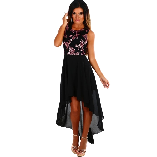 Mulheres Sequined Dress Flower O-Neck Sleeveless Asymmetrical Hem Casual Vestidos Vestido Preto